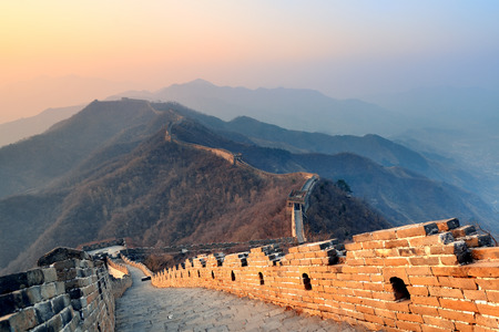 great wall: Great Wall in the morning with sunrise and colorful sky in Beijing, China  Stock Photo