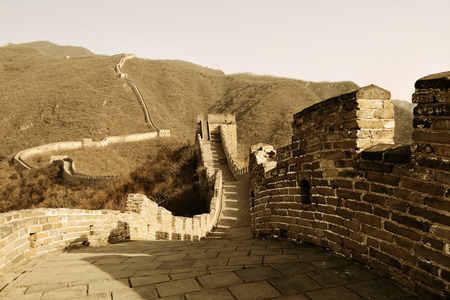 greatwall: Great Wall in old yellow tone in Beijing, China