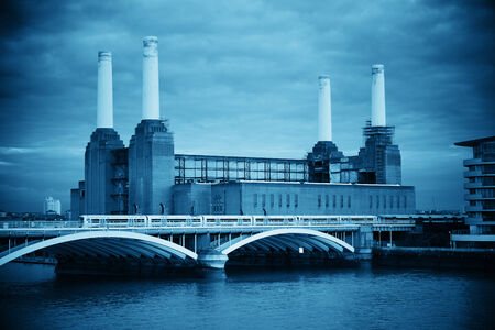 black and white plant: Battersea Power Station over Thames river as the famous London landmark. Stock Photo