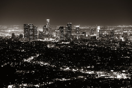 los angeles: Los Angeles at night with urban buildings in BW