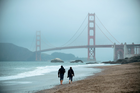Golden Gate Bridge in San Francisco at Baker Beach. Stock Photo
