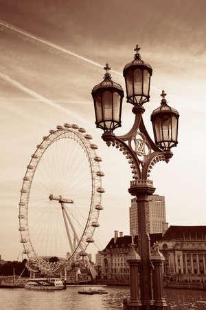 Vintage lamp post on Westminster Bridge in London..