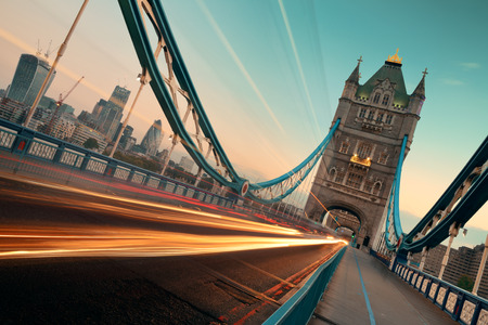 london tower bridge: Tower Bridge and traffic in the morning in London.