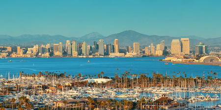 San Diego downtown skyline and boat in harbor. Stock Photo