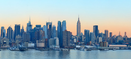 city square: New York City midtown Manhattan sunset skyline panorama view over Hudson River
