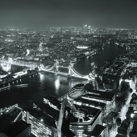London aerial view panorama at night with urban architectures and tower bridge. Stok Fotoğraf - 30064964