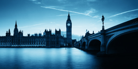 thames: Big Ben and House of Parliament in London at dusk panorama. Stock Photo