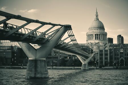 thames: St Pauls cathedral in London and bridge over Thames River.  Stock Photo