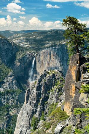 horsetail: Yosemite mountain ridge with waterfall.
