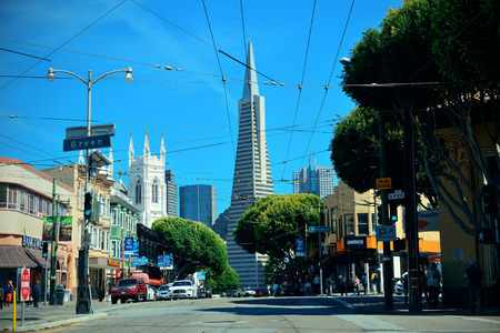 settled: San Francisco, CA - MAY 11: Downtown Street view with the Pyramid on May 11, 2014 in San Francisco. It is the most densely settled large city in California and the second-most in US. Editorial