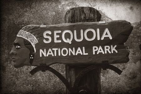 kings canyon national park: Sequoia National Park entrance in California