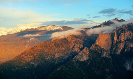 kings canyon national park: Mountain with cloud at sunset in Sequoia National Park Stock Photo