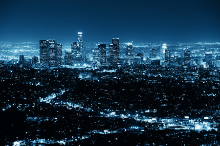 Los Angeles at night with urban buildings in BW photo