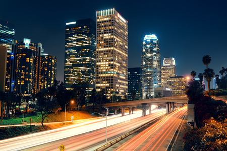 Los Angeles downtown at night with urban buildings and light trail Stok Fotoğraf - 31956885