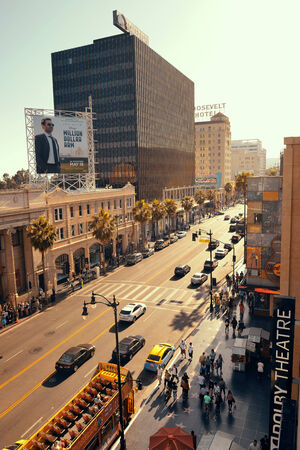 evolved: Los Angeles, CA - MAY 18: Hollywood street view on May 18, 2014 in Los Angeles. Started as a small community, it evolved into the home of world famous film industry Editorial