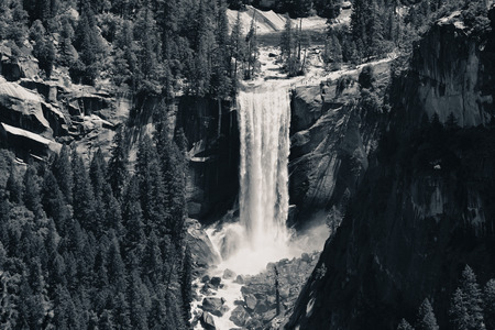 yosemite national park: Waterfalls in Yosemite National Park in California BW