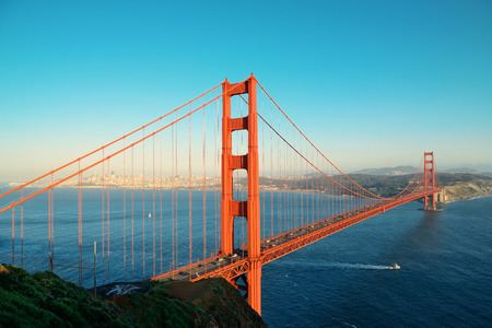 golden: Golden Gate Bridge in San Francisco as the famous landmark.