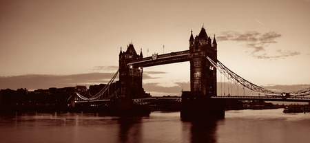 Tower Bridge panorama over Thames River in London.