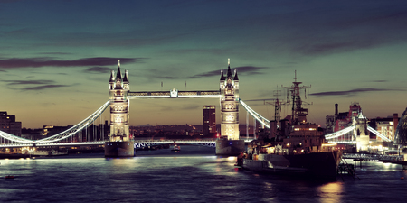 belfast: HMS Belfast warship and Tower Bridge panorama in Thames River in London