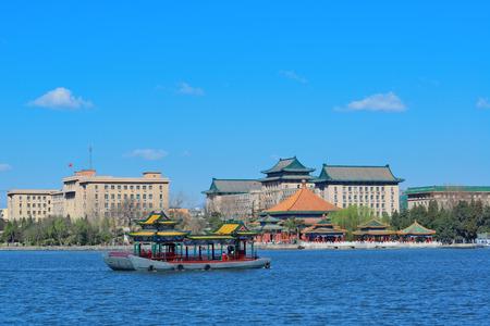 historical architecture: Beihai park panorama with historical architecture in Beijing