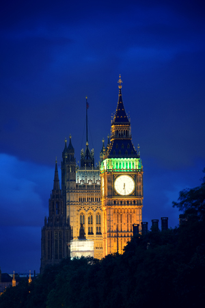the palace of westminster: Westminster Palace at night lit in London. Stock Photo