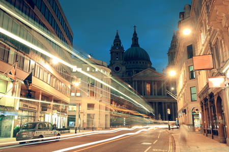 st pauls cathedral: LONDON, UK - SEP 27: Street view with st pauls cathedral on September 27, 2013 in London, UK. London is the worlds most visited city and the capital of UK. Editorial