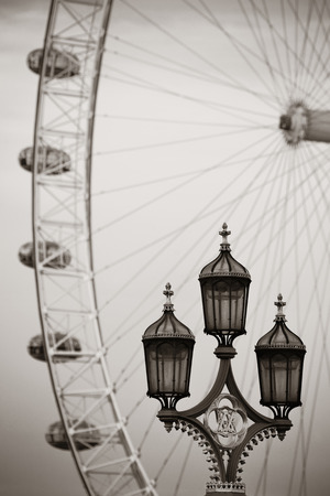Vintage lamp post on Westminster Bridge in London in black and white. photo