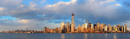 wtc: Downtown Manhattan skyline at sunset over Hudson River in New York City