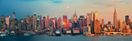 new york city panorama: New York City day and night. This photo is blended with sunset and twilight shots.