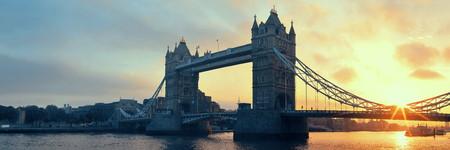Tower Bridge sunrise panorama over Thames River in London. Stock Photo
