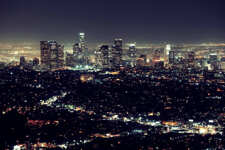 los angeles: Los Angeles at night with urban buildings