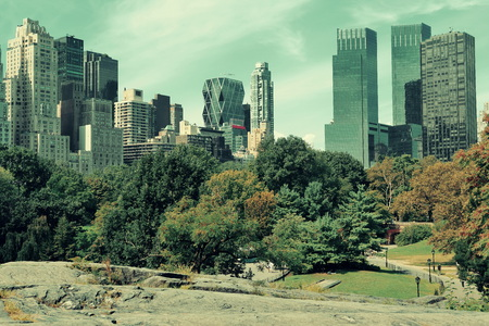 park: Central Park Spring with skyline in midtown Manhattan New York City