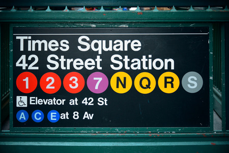 times square: Times Square subway station entrance in New York City