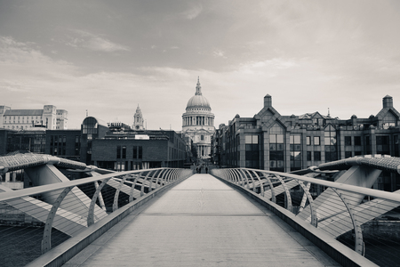 millennium bridge: St Pauls Cathedral and Millennium Bridge in London.