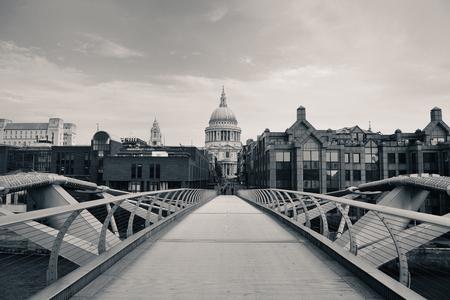 millennium: St Pauls Cathedral and Millennium Bridge in London.