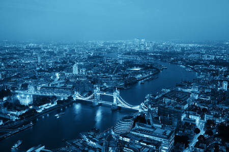 London aerial view panorama at night with urban architectures and Tower Bridge in BW. Stok Fotoğraf - 33932788