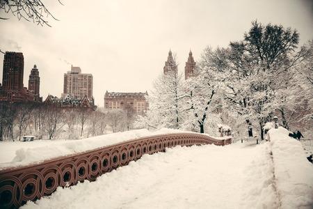ミッドタウン マンハッタン ニューヨーク市の高層ビルと弓の橋中央公園冬