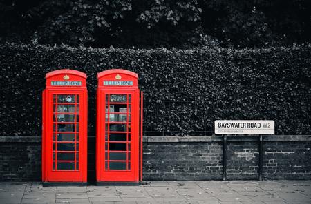 telephone booth: Telephone box in London street.