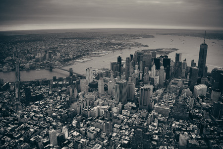 world trade center: New York City Manhattan downtown aerial view with bridges