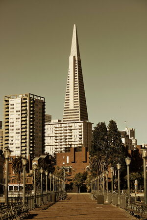 transamerica: San Francisco, CA - MAY 11: Transamerica Pyramid and pier on May 11, 2014 in San Francisco. It is the tallest building and the famous landmark in San Francisco Editorial