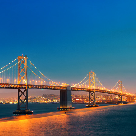 francisco: San Francisco city skyline with urban architectures at night.