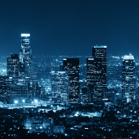 Los Angeles downtown buildings at night photo