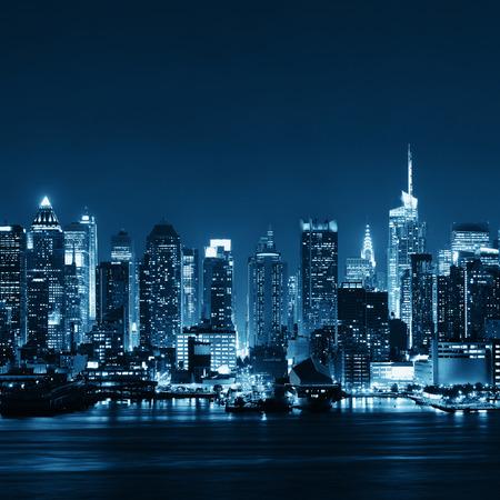 new york at night: Midtown Manhattan skyline at dusk panorama over Hudson River BW Stock Photo