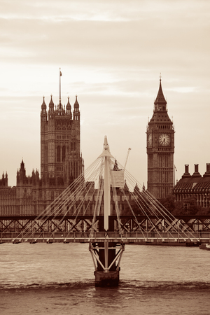 Westminster Palace and bridge over Thames River in London