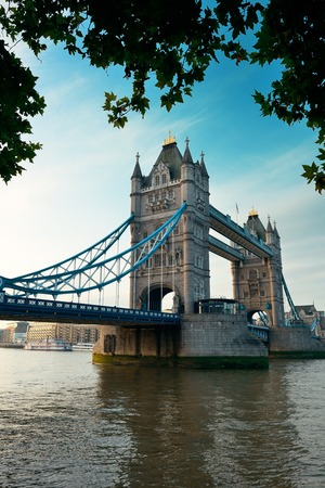 thames: Tower Bridge over Thames River in London. Stock Photo