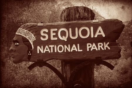 sequoia national park: Sequoia National Park entrance in California