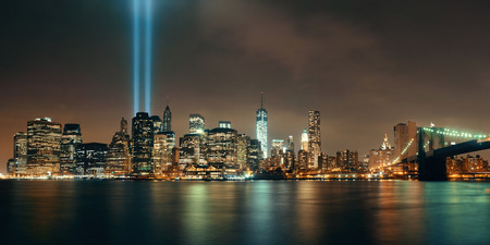 september 11: New York City downtown Brooklyn Bridge and september 11 tribute at night