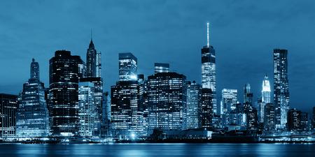 Manhattan Downtown architecture night view 免版税图像 - 35720852