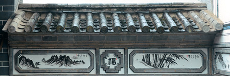 chinese courtyard: Local Bai style architecture with decoration pattern in Dali old town. Yunnan, China.