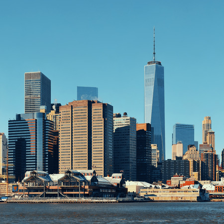 wtc: Manhattan downtown skyline with urban skyscrapers over river. Stock Photo